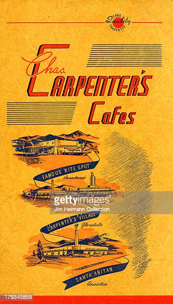 A menu for Carpenter's Cafes reads 'Carpenter's Cafes' from 1937 in USA