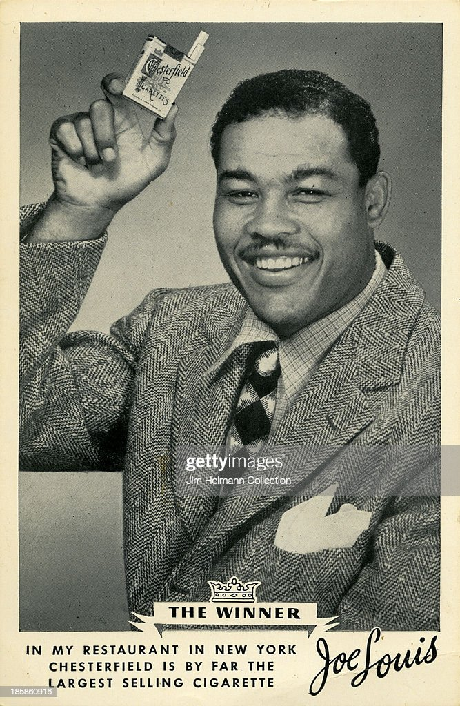 A menu for Chesterfield, Joe Louis reads 'In My Restaurant In New York Chesterfield Is By Far The Largest selling Cigarette Joe Louis' from 1949 in USA.