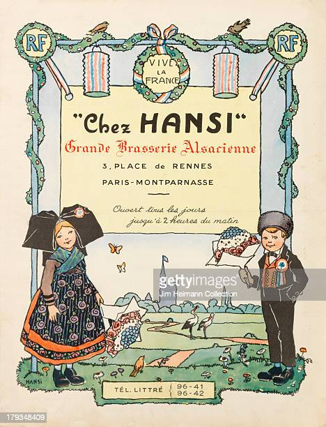 A menu for Chez Hansi reads 'Chez Hansi Grande Brasserie Alsarienne' from 1928 in France