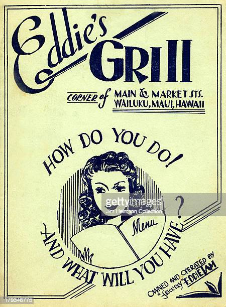 A menu for Eddie's Grill reads Eddie's Grill How do You Do And What Will You Have from 1936 in USA