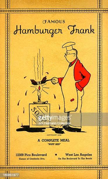 A menu for Hamburger Frank reads 'Hamburger Frank' from 1945 in USA