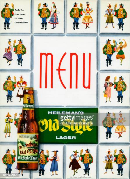 A menu for Heileman's Old Style Lager reads 'Heileman's Old Style Lager Menu' from 1954 in USA