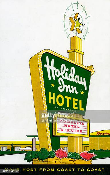 A menu for Holiday Inn Hotel reads 'Holiday Inn Hotel' from 1957 in USA