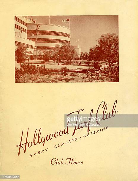 A menu for Hollywood Turf Club reads 'Hollywood Turf Club' from 1945 in USA