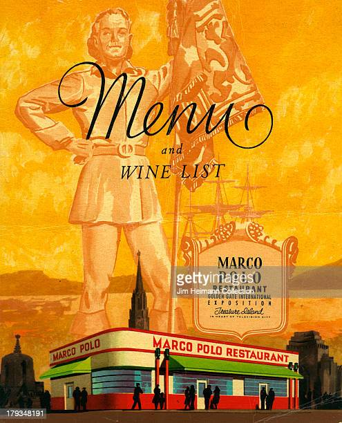 A menu for Marco Polo Restaurant reads Marco Polo Restaurant Menu and Wine List from 1939 in USA