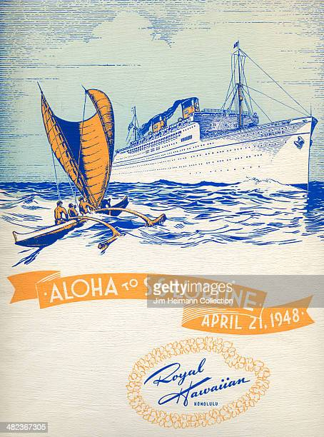 A menu for Matson Lines SS Lurline Royal Hawaiian Hotel reads 'Aloha To SS Lurline April 21 1948 Royal Hawaiin' from 1948 in USA