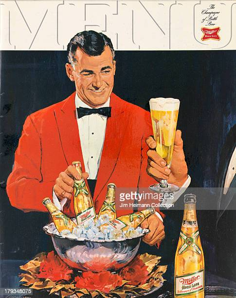 A menu for Miller High Life reads 'Menu' from 1958 in USA