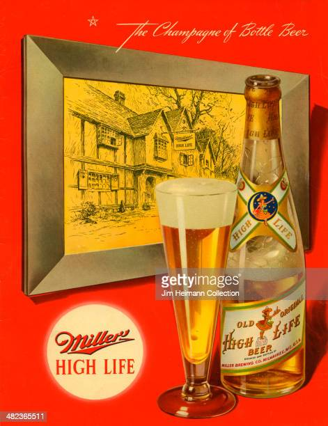 A menu for Miller High Life reads 'The Chamagne of Bottle Beer Miller High Life' from 1948 in USA