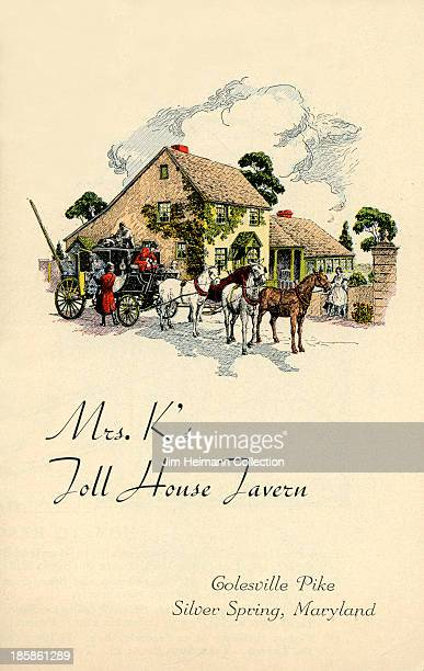 A menu for Mrs K's Toll House Tavern reads 'Mrs K's Toll House Tavern' from 1942 in USA