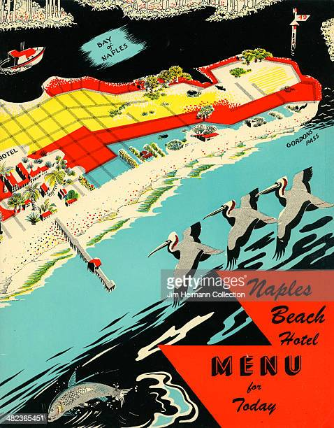A menu for Naples Beach Hotel reads Naples Beach Hotel Menu for Today from 1955 in USA