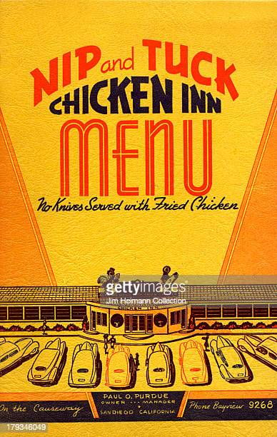 A menu for Nip and Tuck Chicken Inn reads 'Nip and Tuck Chicken Inn' from 1942 in USA