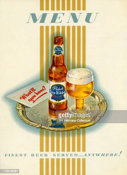 A menu for Pabst Blue Ribbon reads 'Menu Finest beer servedanywhere' from 1941 in USA