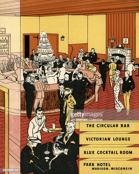 A menu for Park Hotel reads 'The Circular Bar Victorian Lounge Blue Cocktail Room Park Hotel Madison Wisconsin' from 1936 in USA