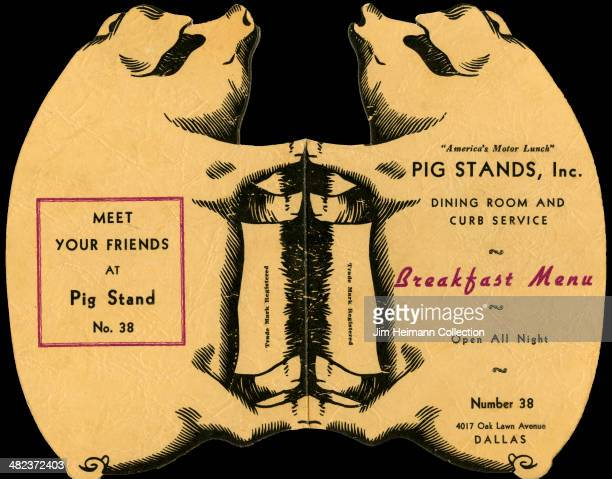 A menu for Pig Stands Inc reads 'Pig Stands Inc Dining Room And Curb Service Breakfast Menu Open All Night Meet Your Friends At Pig Stand' from 1938...