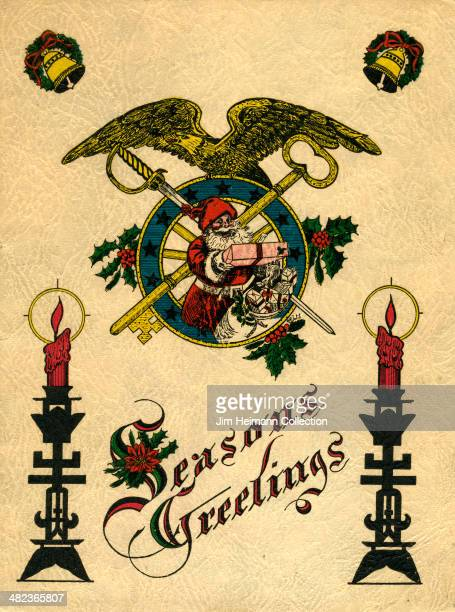 A menu for Quartermaster Corps reads 'Seasons Greetings' from 1931 in USA