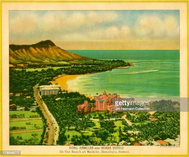 A menu for Royal Hawaiian Hotel Moana Hotel reads Royal Hawaiian Hotel Moana Hotel from 1930 in USA