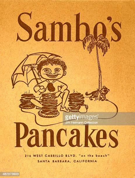 A menu for Sambo's Pancakes reads 'Sambo's Pancakes' from 1958 in USA