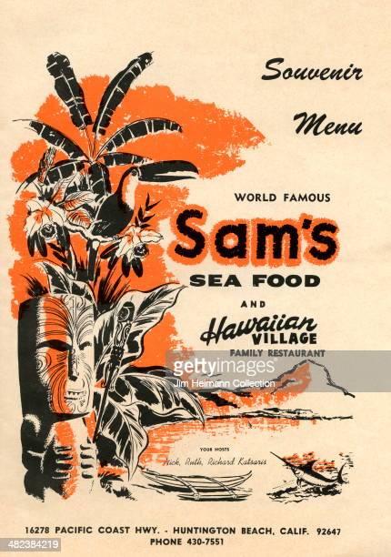 A menu for Sam's Sea Food and Hawaiian Village Restaurant reads Sam's Sea Food and Hawaiian Village Restaurant Souvenir Menu from 1949 in USA