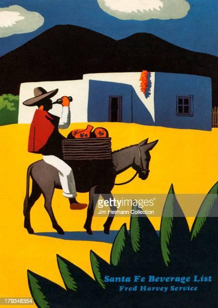 A menu for Santa Fe Dining Car Fred Harvey reads Santa Fe Dining Car Fred Harvey Service from 1956 in USA