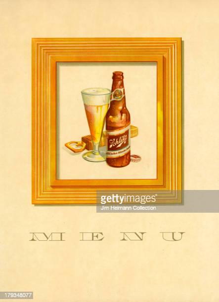 A menu for Schlitz reads 'Menu' from 1946 in USA