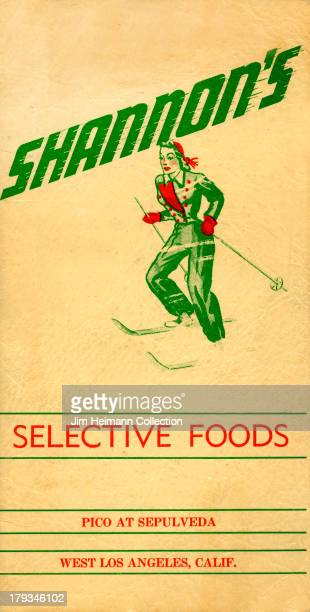 A menu for Shannon's reads 'Shannon's Selective Foods' from 1943 in USA