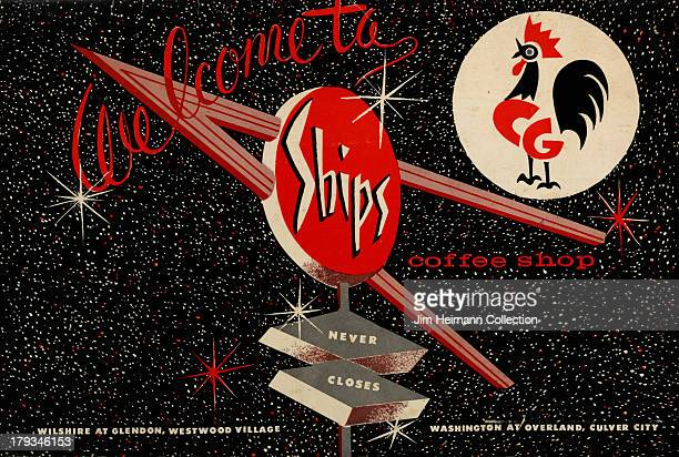 A menu for Ships Coffee Shop reads 'Ships Coffee Shop' from 1958 in USA