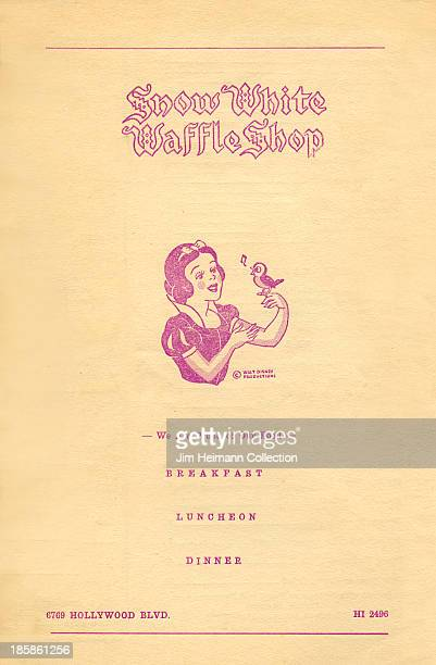 A menu for Snow White Waffle Shop reads 'Snow White Waffle Shop' from 1941 in USA