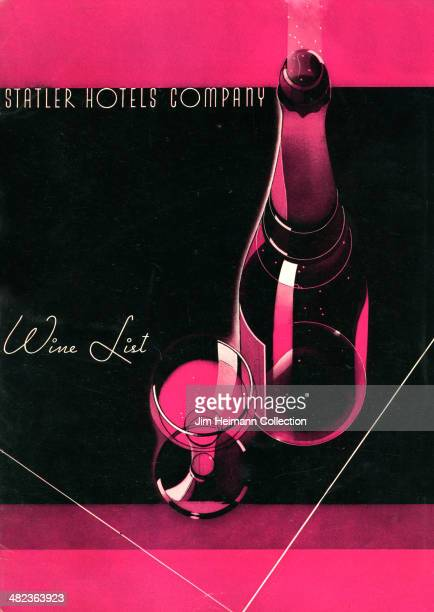 A menu for Statler Hotels Company reads 'Statler Hotels Company Wine List' from 1937 in USA