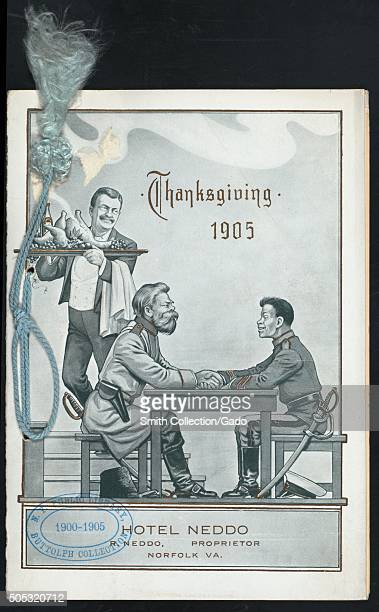 Menu for Thanksgiving dinner held at the hotel Neddo featuring an image of United States President Theodore Roosevelt as a waiter delivering food to...