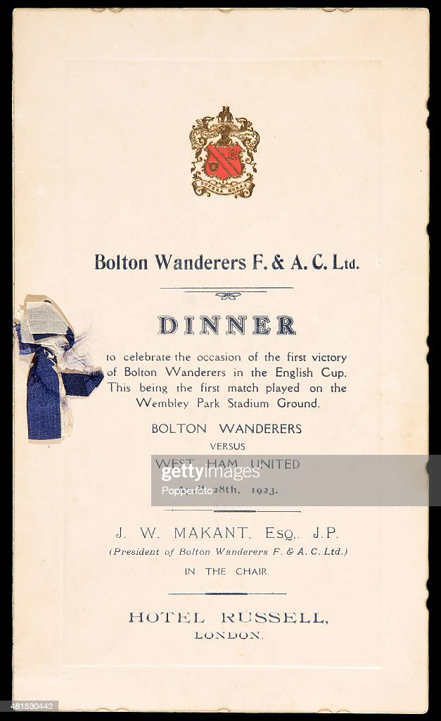A menu for the celebratory dinner celebrating Bolton Wanderers ...