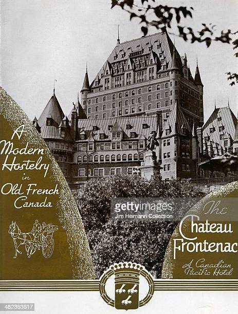 A menu for The Chateau Frontenac reads 'The Chateau Frontenac A Modern Hostelry in Old French Canada' from 1939 in Canada