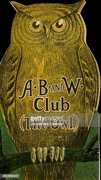 A menu for The Owl reads 'AB and W Club ' from 1928 in USA