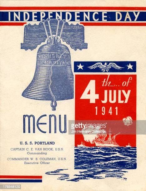 A menu for USS Portland Independence Day reads ' Independence Day USS Portland 4th of July 1941' from 1941 in USA