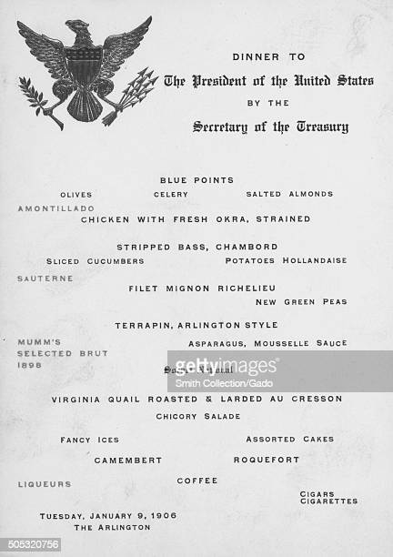 Menu from a dinner to honor United States President Theodore Roosevelt hold by Secretary of the Treasury Leslie Shaw at the Arlington Hotel...