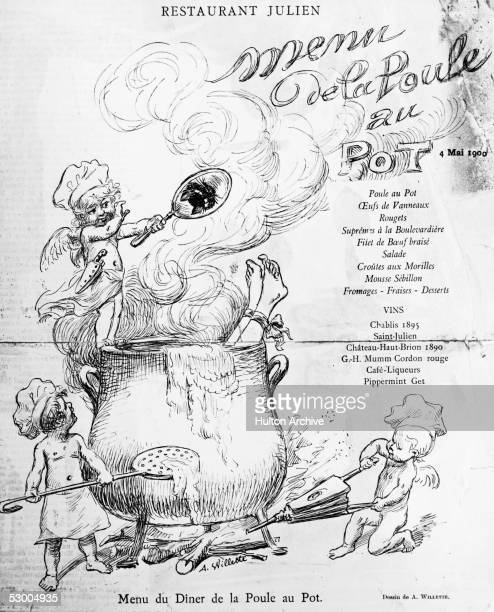 A menu from the Restaurant Julien in Paris dated 4th May 1900 The drawing by A Willette depicts a group of cherubs cooking a person in a large pot