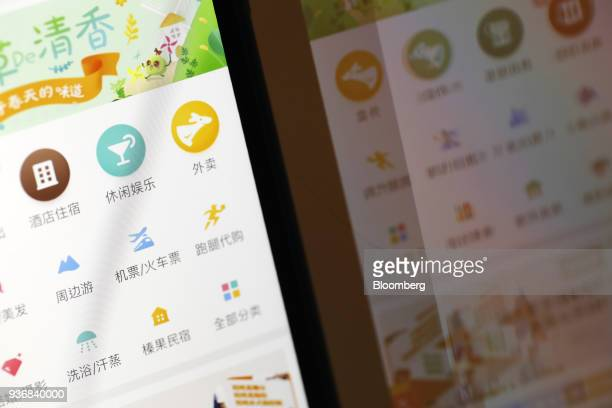 Menu icons are displayed on the Meituan application on an Apple Inc iPhone in an arranged photograph taken in Hong Kong China on Friday March 23 2018...