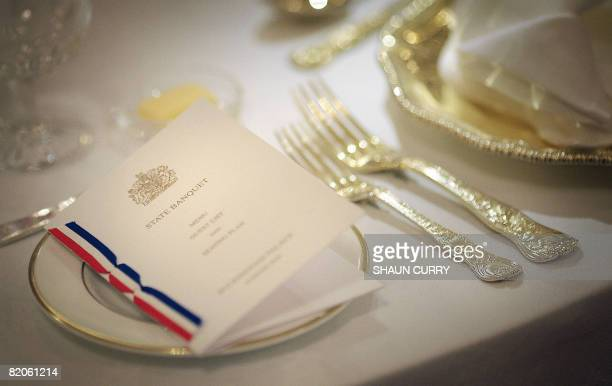 Menu is pictured in the Ballroom set up for a State Banquet at Buckingham Palace in London, on July 25, 2008. For the first time ever, visitors to...