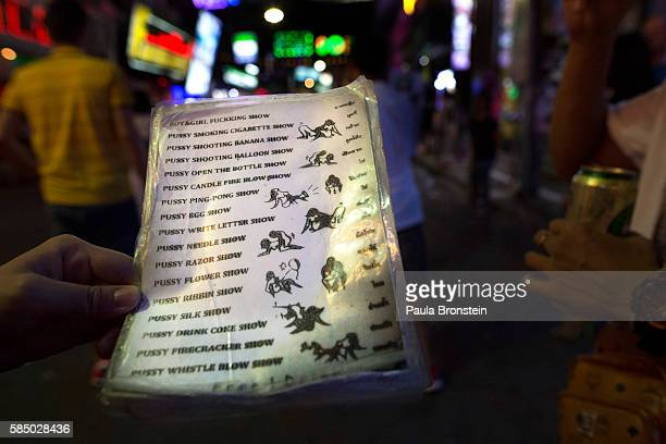 A menu is shown for a sex show that tourists pay for along the Walking Street where bars and sex scenes are a commonplace July 31 2016 in Pattaya...