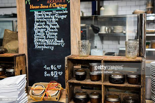 A menu lists house jam and chutney offerings at the Fast Track Dinner during the 2016 Los Angeles Film Festival at The Culver Hotel on June 6 2016 in...