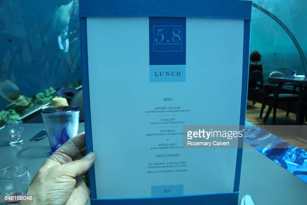 Menu of gourmet lunch at cost of US$150, undersea restaurant.