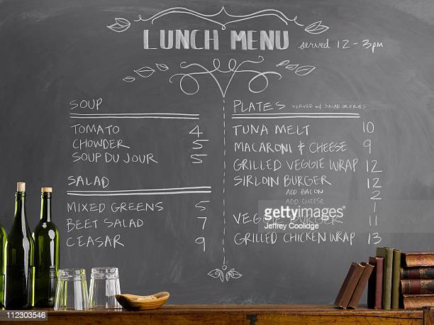 menu on blackboard - menu stock pictures, royalty-free photos & images