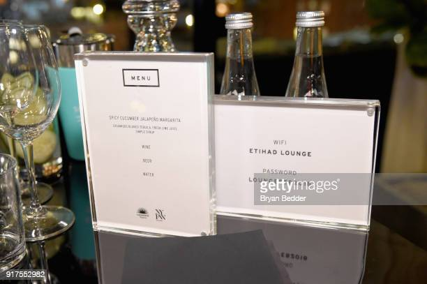 A menu on display in the Etihad Airways VIP Lounge at NYFW The Show at IMG NYFW The Shows LOBBY on February 12 2018 in New York City