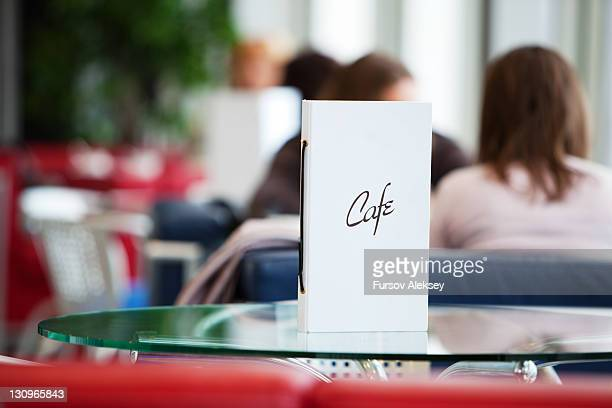 Menu on table of cafe