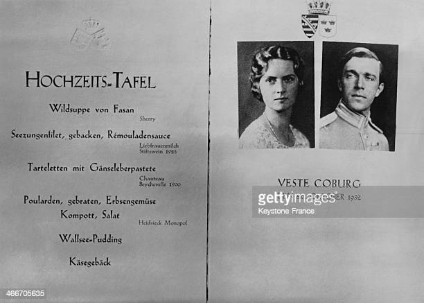 Menu served for the wedding meal of Princess Sibylla of Saxe Coburg and of Prince Gustaf Adolf of Sweden on October 20 1932