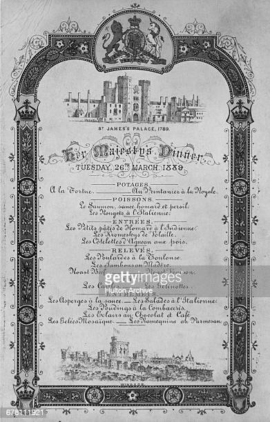 A menu written in French for Her Majesty's Dinner hosted by Queen Victoria on 26th March 1889 The upper engraving depicts St James's Palace in London...