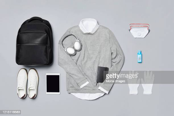 "men""u2020s clothing with technologies and personal accessories against covid-19. - panic buying stock pictures, royalty-free photos & images"