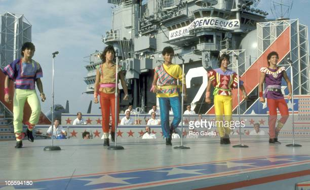 Menudo during 'Salute to Lady Liberty' Special Taping July 2 1984 at Aboard USS Independence Aircraft Carrier at New York Harbor in New York City New...