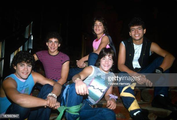 Menudo members Charlie Ricky Ray Roy and Robby pose for a photograph February 16 1984 at Radio City Music Hall in New York City where they are...