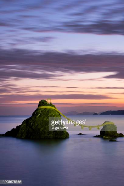 meoto iwa wedding rocks at dawn - ise mie stock pictures, royalty-free photos & images