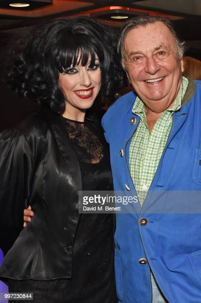 Meow Meow and Barry Humphries attend the press night performance of 'Barry Humphries' Weimar Cabaret' at The Barbican Centre on July 12 2018 in...